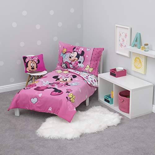 Disney Minnie Mouse Pink, White, Aqua & Yellow Happy Hearts 4Piece Toddler Bed Set - Comforter, Fitted Bottom Sheet, Flat Top Sheet, Reversible Pillowcase, Pink, Aqua, White, Yellow