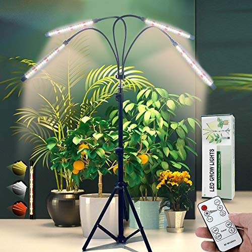 Updated GrowLight with Stand,Full Spectrum 4-Head LED Floor Plant Lamp with Adjustable Tripod and 4/8/12h Timer for Indoor Tall & Large Plants
