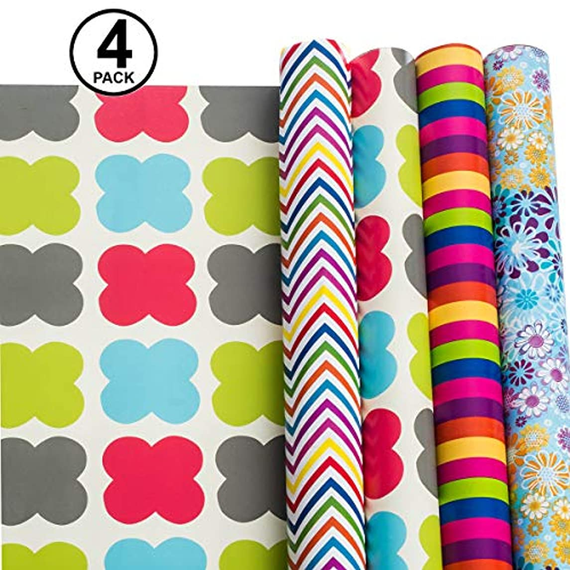 Gift Wrapping Paper – All Occasion Wrapping Paper – Wrapping Paper – Premium Gift Wrap, 4 Rolls - 2.5 ft x 10 ft per Roll, Includes 7 Bows, 2 Rolls of Ribbons