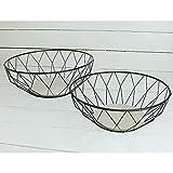 MACOSA CPW30620 2er Set hochwertige Design-Körbe Metall/Holz rund | Obst-Schale Deko-Korb Tisch-Dekoration | Accessoire Drahtkorb Draht-Schale - 5