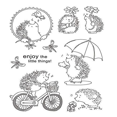 Geniet van de kleine dingen schattig dier egels bloemen stempels elegante vrouwen rubber duidelijk stempel/Seal Scrapbook/foto decoratieve kaart maken duidelijk stempel