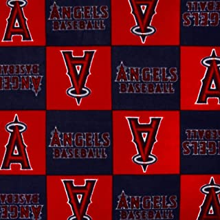 Fabric Traditions MLB Fleece Los Angels of Anaheim Blocks Red Fabric by The Yard
