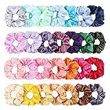 WATINC 28Pcs Silk Satin Hair Scrunchies Set for Women Strong Elastic Hair Bobbles