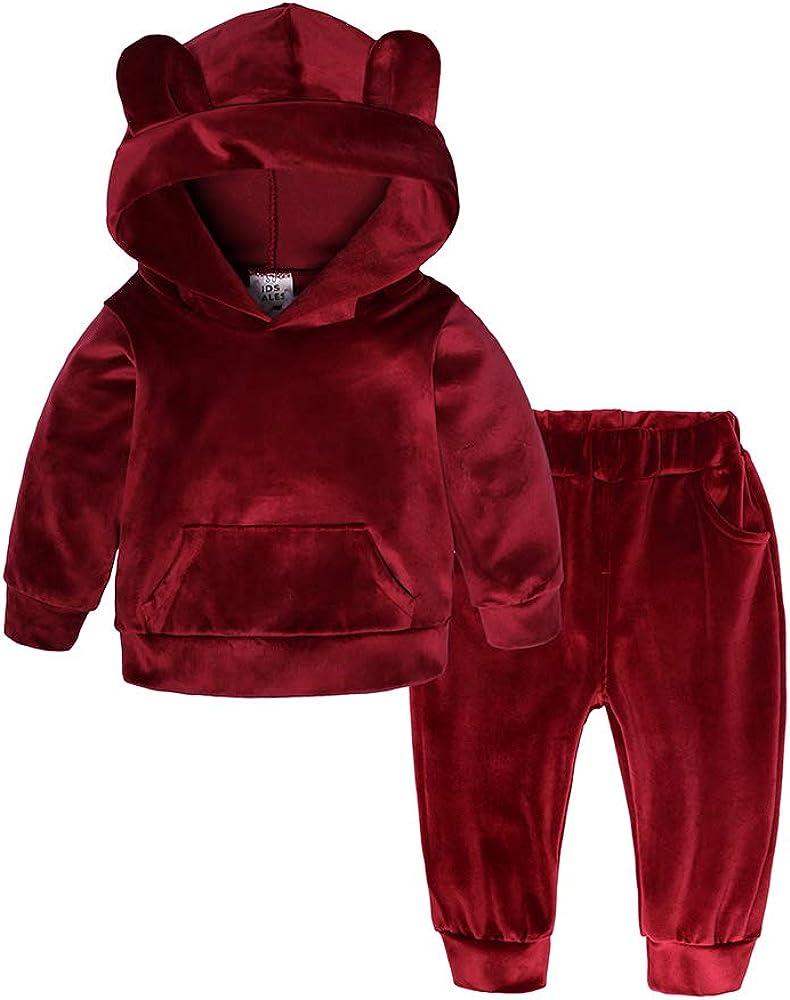 Kids Tales Boys Girls 2Pcs Velvet Hooded Tracksuit Top Sweatpants Outfits Set 12M-8T
