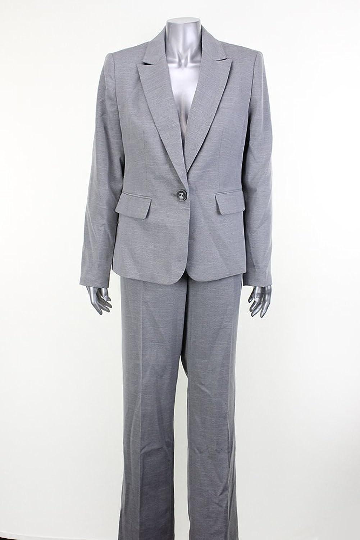 Le Suit Women's Sterling Herringbone SingleButton Pant Suit