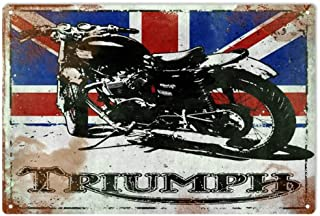 Vintage Looking Triumph Motorcycle with British Flag Reproduction Sign