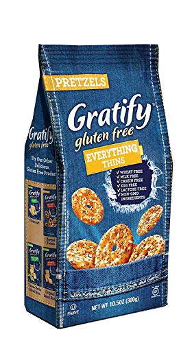 Gratify Gluten Free Pretzel Thins Everything Vegan GF Pretzel Crisps, 10.5oz Bag