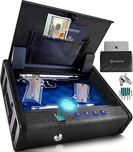 Biometric Gun Safe Gun Safes for Pistols 2 Pistol Safe Quick...