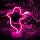 Ghost Neon Signs Night Lights, LED Signs Ghost Shape Lamp Neon Lights for Nursery Room Wall, Festival, Party Christmas Decor-Ghost with Holder Base(Pink)