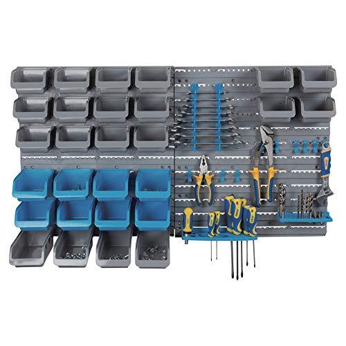 organizador de almacenamiento de garaje de pared para almacenar tuercas pernos 2 piezas azul y rojo herramientas de montaje en pared