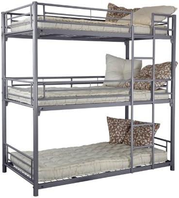 Trios 3 Level Bunk Bed 90 X 190 Cm Metal Silver 99x200x204 Amazon Co Uk Home Kitchen