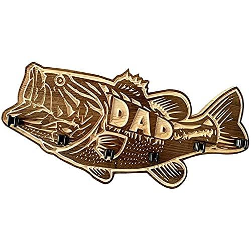 Soporte de madera para cañas de pescar de boca grande, soporte de madera para cañas de pescar, soporte de almacenamiento para cañas de pescar montado en la pared, regalos para el día del padre