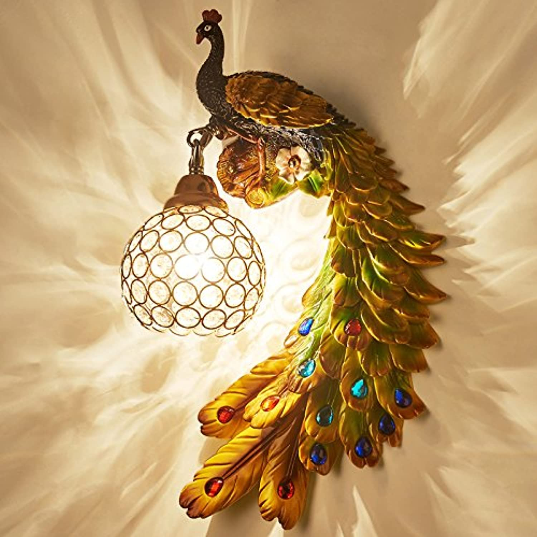 StiefelU LED Wandleuchte nach oben und unten Wandleuchten Peacock Crystal Wand lampe Schlafzimmer im Doppelbett Wohnzimmer TV Hintergrund Wand, rechts