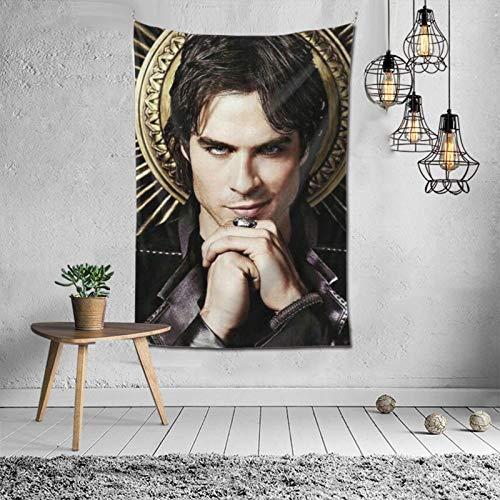 Poster Die Va-Mpire-Tagebücher Damon_Salvatore Tapisserien Wandbehang Customized Style Dekor für Wohnzimmer Schlafzimmer Wohnheim oder Outdoor-Gebrauch 60x40 Zoll