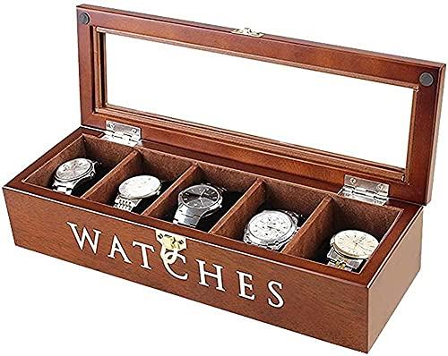 MMYNL Caja de Reloj de Madera Maciza de 5 dígitos Organizador cosmético Caja de Almacenamiento de Reloj Caja de Reloj mecánico portátil para el hogar 34 * 12 * 8 cm