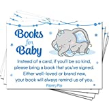 50 Books for Baby Shower Request Cards for Boy (50 Pack) - Elephant - Bring a Book Instead of a Card - Baby Shower Invitations Inserts Supplies