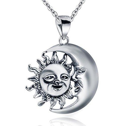 """Colgante de plata de ley 925 """"Luna y Sol"""", antiguo con joyero #KA-253 de Materia"""