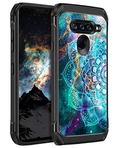 BENTOBEN LG V40 ThinQ Hülle, LG V40 Hülle, stoßfest, leuchtet im Dunkeln, leuchtend, 2 in 1 harter PC Soft TPU Bumper Stoßfest Schutzhülle für LG V40 ThinQ 2018 Release, Mandala in Galaxy