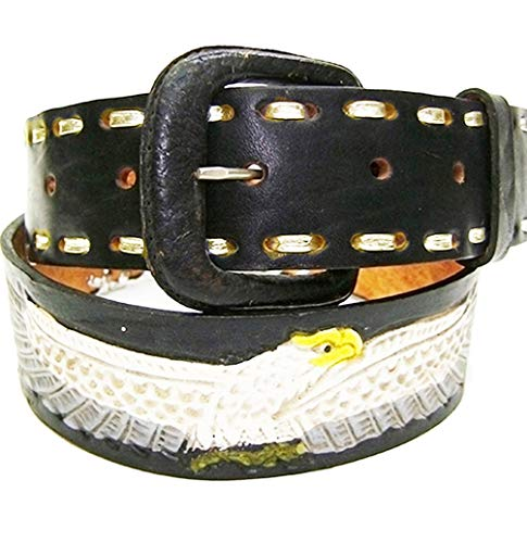 Modestone Western Hand Painted Embossed Ceinture Cuir Eagle Braid 28 Black