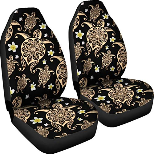 Babrukda Bohemian Style Front Car Seat Cover Boho Floral Sea Turtle Print Saddle Blanket Car Seat Covers 2pcs Set Universal Fit for Car Truck SUV
