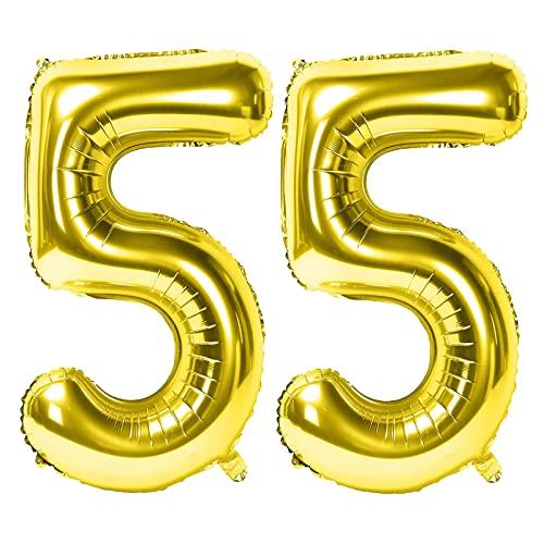 Siumir Numéro Ballons 55 Ans Géant Ballons en D'or Foil Helium Ballons Fête d'anniversaire Ans Anniversaire Décoration
