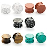 CABBE 5Pairs Stone Ear Plugs Kit Gauges 2g-20mm Saddle Expander Set Stretchers Piercing Jewelry (Gauge=11/16'(18mm))