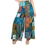 Lofbaz Pantalones Palazzo de Pierna Ancha con retales para Mujer, Pantalones Holgados para salón de Yoga, Hippie, Harem, para jóvenes Verde M