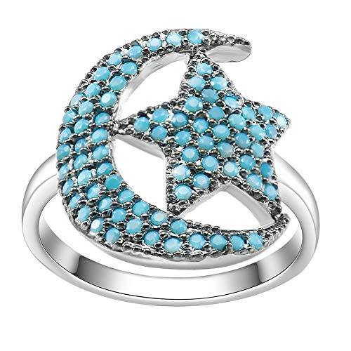 Joyas De Moda Impresionante Azul Cz Cubic Zirconia Crescent Moon Star Anillos Para Mujeres Madres Día Cumpleaños Regalos De Navidad 6 Turquesa