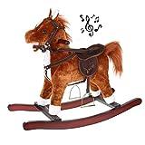 ISO TRADE Jumpy Cheval à Bascule Musical en Bois & Peluche Marron 65 cm