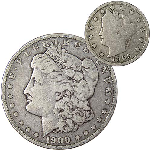 1900 $1 Morgan Silver Dollar VF Very Fine w/ 1905 Liberty Head 5c Good Coin Lot