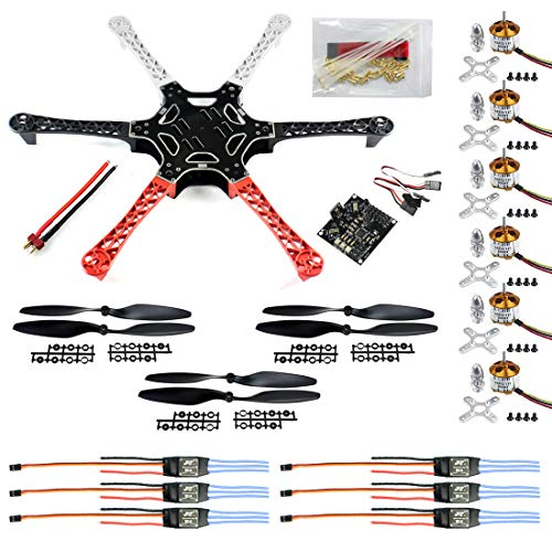 BGNing HexaCopter ARF Drone F550 Hex-Rotor FlameWheel Kit + KK 2.3 Flight Controller ESC Motore Elica per DIY FPV RC Drone