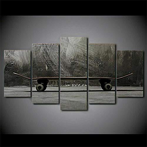 5 Lienzos Decorativos con Impresión Giclée Street Art Skateboard Deporte Diseño De Una Fotografía De Estilo Moderno, Ideal para Salones 150X80Cm
