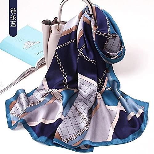 WLLLO Bufanda de seda para mujer otoño e invierno moda de todo fósforo bufanda de seda madre chal largo y cálido de mediana edad- # C_170 * 53cm