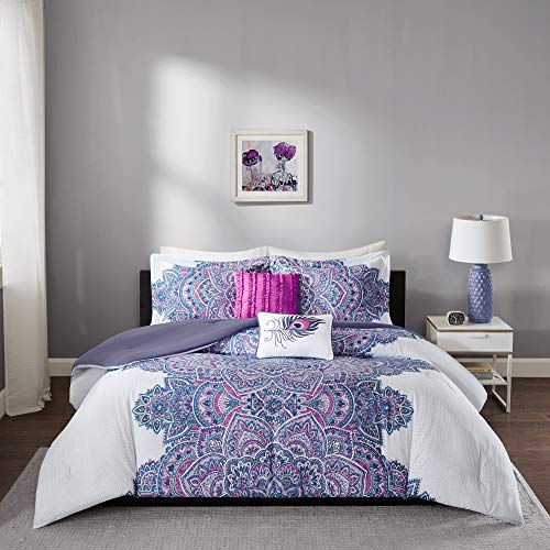 Intelligent Design - Mila Comforter Set Full/Queen Size - Purple, Medallion  5 Piece Bed Sets  All Season Ultra Soft Microfiber Teen Bedding - Perfect For Dormitory-Great For Guest and Girls Bedroom