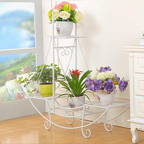 Ensemble de fleurs en fer de style européen Étagères à étages intérieurs et extérieurs à plusieurs étages Balcon Salon Étagère à fleurs Étagère à étages (Couleur : Blanc, taille : 76 * 24 * 74cm)