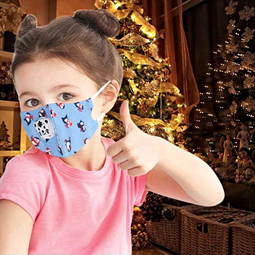 Children'S Protective Face Bandanas Christmas Print Children'S Special Breathable Dust-Proof Washable And Reusable Five Layers Of Protection