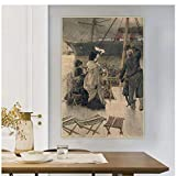 James Tissot 《Adiós, en el Mersey》 Arte de la lona Pintura al óleo Obra de arte Impresión Imagen Decoración de la pared Decoración de la sala de estar -60x80cm Sin marco