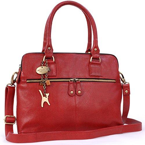 Catwalk Collection Handbags - Vera Pelle - Grande Borsa a Tracolla/Borse a Mano/Spalla/Messenger/Tote/Tracolla Regolabile e Rimovibile - Con Ciondolo a Forma di Gatto - Victoria - ROSSO