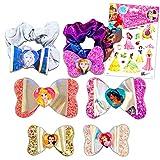 Disney Princess Hair Accessories Bundle - Disney Princess Hair Bows and Scrunchies with Disney Princess Stickers (Disney Princess Dress Up Party Supplies)