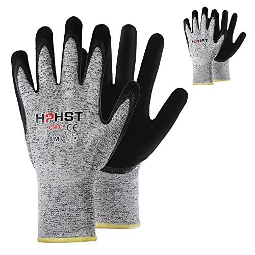 Schnittschutz Handschuhe - HPHST Handschutz für Schneiden Arbeitshandschuhe Level 5 Gartenhandschuhe Herren Damen Schnittfeste Handschuhe für Küchen Gartenbau Baustelle Grau 2 Paare Größe:8 / M