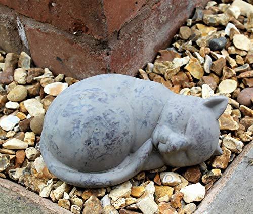 Garden decor cat sleep indoor outdoor ornament statue animal home curled