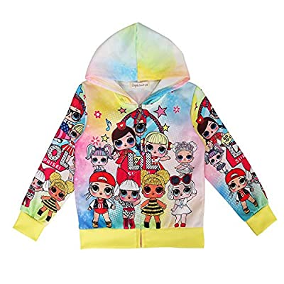 Sudadera con capucha para niñas pequeñas, con estampado de animales, para otoño, invierno, con diseño de unicornio Amarillo estilo11 6-7 Years