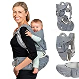Dwelle Baby Carrier Sling Hip-Seat - Baby Carrier with Hip seat and Waist Extender, Detachable Baby Sling 6-in-1 Ergonomic Baby Carrier Newborn to Toddler up to 20kg, Grey