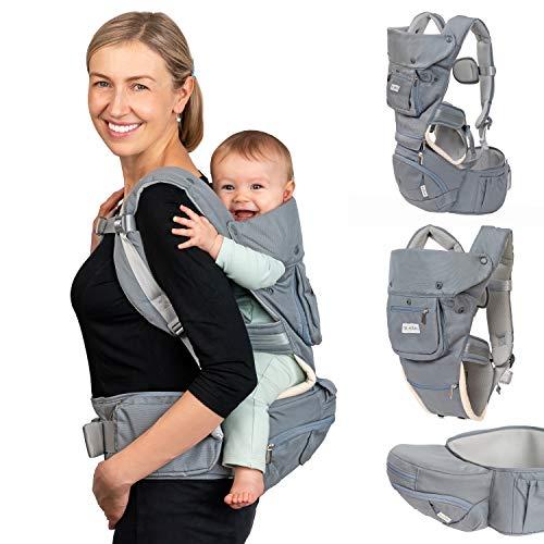 Dwelle Portabebés con correa para la cadera, asiento para bebé con asiento de cadera y extensor de cintura   Cabestrillo para bebé 6 en 1 ergonómico portabebés recién nacido a niño de hasta 20 kg, color gris