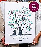 Wedding Tree - Libro de visitas (sobre lienzo, diseño de árbol con huellas dactilares para boda)