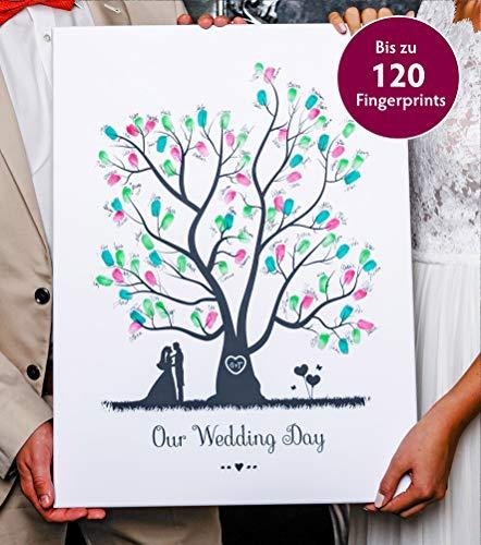 Wedding Tree - Libro de visitas (sobre lienzo, diseño de árbol con...