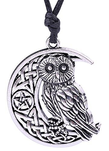 Lemegeton Collar con colgante de búho y símbolo de Dios, diseño de luna creciente antigua y pentagrama, para regalos