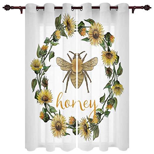 "USOPHIA Grommet Semi Sheer Window Treatment,Sunflower Garland Honey Bee Design Living Room Bedroom Window Drapes 2 Panel Set, 52"" x 72"""