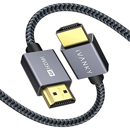 Cavo HDMI 4K 2m, iVANKY Cavi HDMI 2.0 a b ad alta velocità, Video 4K UHD 2160p e 1080p, Supporta Ethernet, 3D, ARC, HDR, per Xbox, PS4, TV e monitor - Nylon Intrecciato