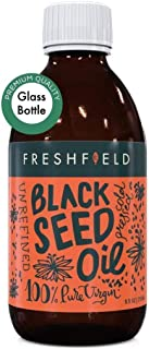 Freshfield Black Seed Oil: 3X% Thymoquinone (Black Cumin Seed Oil, Nigella Sativa) | Cold Pressed | Vegan | Ultra Strength | Premium Liquid, Pure and 100% Natural. 8.5 oz Glass Bottle